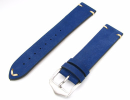 Wholesale Genuine Handmade Leather Belts - 20 22mm Men Women Genuine Cowhide Suede Leather Handmade Stitch Blue Luxury watchbands Strap Belt Silver Polished Pin Buckle