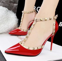 Wholesale Silver Ballroom Woman Shoes - women dress shoes high heels T strap Rivets Shoes Women Sexy High Heels Sandals Prom Gown Party Ballroom Dance Shoes Silver Gold