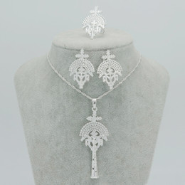Wholesale Silver Cross Earrings Pendant - New Ethiopian Religion Cross Pendant Clip Earrings Ring Ethiopia Crosses Jewelry sets SILVER PLATED Eritrea Accessories #030006