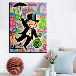 Wholesale Painted Gifts - Alec monopoly Wall Art canvas prints Canvas Handmade Monopoly Wall Painting Rich Man Living room and bedroom decoration gift