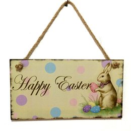 Wholesale Wooden Easter Decorations Wholesale - Happy Easter Hanging Sign Wooden Rabbit Chicken Vintage Door Wall Hanging Decoration Easter Party Home Decoration