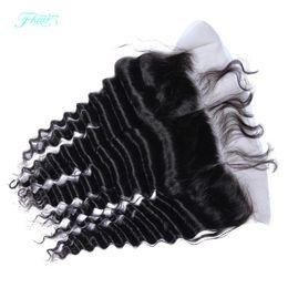 Piezas de pelo de seda de encaje de cierre online-8A Lace Frontals Piece 13x4 Pelo peruano Deep Wave Full Lace Frontal Cierre con cabello de bebé de oreja a oreja Seda Frontal superior