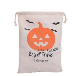 Wholesale Personalized Gifts Children - 6 style Halloween Sacks Canvas Cotton Drawstring Personalized Print Children Candy Gifts Bag Party Pumpkin Bag