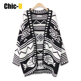 Wholesale V Com - Wholesale- Women Cardigan Long Sleeve Button Black and White Geometric Flower Autumn Winter Fashion Sweater Feminino Plus Size Com Renda