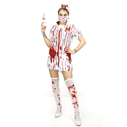 Wholesale Halloween Dress Nurse - 5pcs 2017 Adult Bloody Scary Cosplay Costumes Women Halloween Cosplay Horror Nurse Dress and Doctor Clothes Suits LX3666