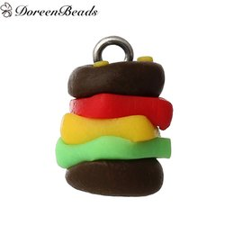 "Wholesale Polymer Clay Making - Polymer Clay 3D Charms Hamburger Multicolor 16mm x12mm( 5 8"" x 4 8""), 10 PCs 2016 new Free shipping jewelry making"