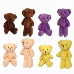 Wholesale Teddy Pendant Chain - 12cm Stuffed Mini Teddy bear Crystal Cotton Bear Key Chain Bouquet Flower Package Pendants Dolls Giftable,4color