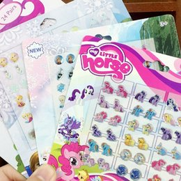 Wholesale Stickers For Ears - 2016 Newest Mixed 8 Designs Kids Epoxy Resin Earring Magic Pvc Gel Removable Sticker For Girls Stick On Earrings Crystal Ear Nail Stick
