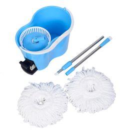 Wholesale Microfibre Mop Cloth - Microfiber Spinning Mop Easy Floor Mop W Bucket 2 Heads 360 Rotating Head Blue