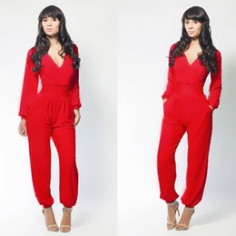 Wholesale Wide Leg Corduroys - 2016 Fashion V neck Jumpsuit Nightclub sexy bandage conjoined culottes Red Black Blue S M L C0060