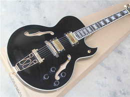 Wholesale High String Guitar - High Quality Semi-hollow Electric Guitar with Black Body,Gold Hardware,White Binding and can be Customized