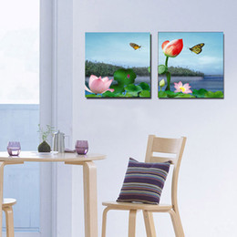 Wholesale Traditional Chinese Painting Flowers - 2 Pieces No frame Free Shipping Home decoration on Canvas Prints Chinese Two-picture Combinatio style andscape painting lotus flowers Sketch