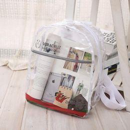 Wholesale Hot Girls Transparent - Hot NEW Transparent PVC Clear Plastic Waterproof Backpack for Teenage Girls PVC School Bags Shoulders Bag