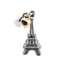 Wholesale pandora eiffel tower charm - Fine Jewelry 925 sterling silver eiffel tower dangle charms pendant with 14k gold plated heart for women Fits Pandora Bracelets DIY Making