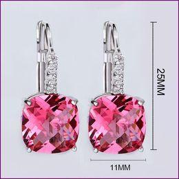 Wholesale Si Rhinestone Jewelry - SI 2016 HOT Sale 6Colors Big Zircon Fashion Jewelry Classic Style Silver Plated Dangle Earrings For Women Romantic Drop Earrings