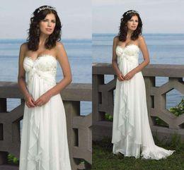 Wholesale Sweetheart Pregnant Wedding Dress - Empire Waist Vintage White Ivory Beach Summer Wedding Dresses 2016 sexy Pregnant Bridal gowns Chiffon Plus Size vestido de noiva