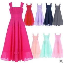 Wholesale Summer Clothes For Children - Chiffon Big Girls Pageant Dress Kids Dresses for Girls Clothes Sleeveless Maxi Flower Girl Dress Princess Dress Children Chiffon