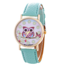 Wholesale Simple Flower Girl Dresses - 2016 red owl snow flower dial women watch fashion ladies leather girls students dress quartz simple wholesale wrist watches