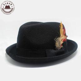 Wholesale Winter Vintage Felt Hat - Wholesale-Fashion mens vintage fedora hat with feather wool felt Jazz hat black