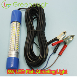 Wholesale Boat Blue Led - DC12-24V 8W Green Blue White Yellow LED Underwater Fish Attracting Light Boat Marine LED Light For Fish