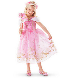 Wholesale Cinderella White Dress For Girls - Wholesales 4colors Princess Cinderella Dress girl's kid Christmas Halloween Role-play Costume Snow White Rapunzel Dresses For Girls