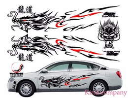 Wholesale Hood Stickers - 1set black for Most Car Truck auto sport power Chinese Totem Dragon Graphics Side Decal Body Hood Sticker