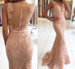 Wholesale V Neck Button Up - 2018 New Sexy V-Neck Evening Dresses Wear Illusion Lace Appliques Beaded Blush Pink Mermaid Long Sheer Back Formal Party Dress Prom Gowns