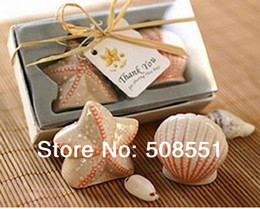 Wholesale Starfish Salt Pepper Shakers - Wholesale- Free Shipping Starfish Shell Salt Pepper Ceramic Shakers Wedding decoration Party and holiday Favor and christmas supplies
