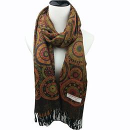 Wholesale Circle Pashmina - 2016 Hot selling european stylish multi color circle mosaci women pash border scarf winter pashimina soft 5colors available on sale