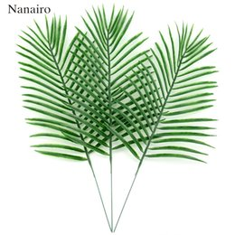 Wholesale Party Tropical - 10pcs Large Plastic Artificial Green Leaf Tropical Palm Foliage Leaves Plant For Hawaiian Party Wedding Home Garden Decorations