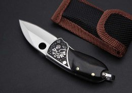 Wholesale Christmas Gift Pocket Knife - Keychain Knife Small Folding Knife 7CR17MOV 58HRC Natural Ebony Steel Head Handle EDC Pocket Camping Knives Christmas Gift F741E