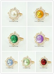 Wholesale Gold Napkin Rings Sale - Hot Sale--10pcs vintage style sparkling gemstones Gold-tone Metal Rings Wedding Bridal Shower Napkin holder Napkin Cloth Rings