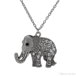Wholesale Rhinestone Elephant Pendant Necklace - New Vintage Drip Animal Fashion Jewelry Retro Diamond Carved Elephant Chain Necklace Sweater Accessorie Pendant Necklace For Women Two Style