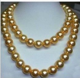 "Wholesale Genuine Black Pearl Pendant - WHOLESALE genuine 35"" 10-11 mm south sea golden pearl necklace 14K Gold Clasp"