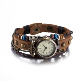 Wholesale Cow Leather Watches - Hot Sale Vintage Retro Quartz Wristwatches Fashion Cow Leather Bracelets Bangles with Pendant Womens Girls Watches Luxury Jewelry Watches