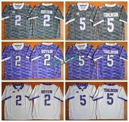 Wholesale Multi Color Fan - TCU Horned Frogs Football Jerseys American College 2 Trevone Boykin 5 LaDainian Tomlinson For Sport Fans Team Color Gray Purple White