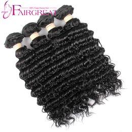Wholesale Tangle Shed Free Human Hair - 100% Unprocessed Brazilian Hair Bundles Brazilian Human Hair Extensions Deep Weave Natural Color 4 Pcs No Shedding No Tangle Free Shipping