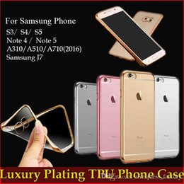 Wholesale S3 Case Crystals - Luxury Ultra Thin Slim Plating Gilded TPU Crystal Clear Case For iPhone 7 Plus Samsung Galaxy S3 S4 S5 Note 3 4 5 J5 J7 Free DHL MOQ:200pcs
