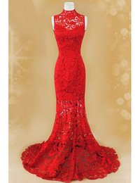 Wholesale Winter Wear China - Vestido De Festa Formal Pageant Sexy Red China Prom Dresses 2016 High Neck Lace Long Mermad Vintage Formal Evening Dresses