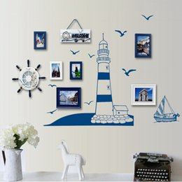 Wholesale Sailing Boat Murals - Wholesale- DIY Blue Sailing Boat Wall Sticker Tower Lovely Sea Gull Arts Decals Wallpaper Removable Mural Tower Sea Natural Style