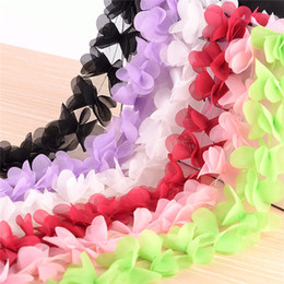 Wholesale Fabric Flower Trimmings - 10Yards Flowers 3D Petals Chiffon Leaves Trim Wedding Dress Bridal Mesh Lace Fabric DIY Craft Clothes Hair Accessories