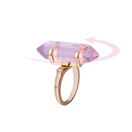 Wholesale Pointed Stone Ring Wholesale - Hexagonal Prism Rings Gemstone Imitation Natural Stone Crystal Quartz Healing Point Chakra Stone Charm Gold Silver Plated Ring for women