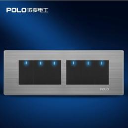 mini rivelatori di topi Sconti Il trasporto libero, pannello di interruttore di parete di lusso POLO, 197MM * 72MM, pannello LED, interruttore della luce, interruttore piatto, 110 ~ 250V, 6 Gang 2 Way