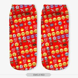 Wholesale Cartoon Faces Socks - Wholesale-21 Colors You can choose Lovely smiling face 3D Print Animal women Socks Casual cartoon Socks Unisex Low Cut Ankle Socks
