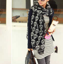 Wholesale Skeleton Big Scarf - 2015 Fashion Women Lady Big Skull Head Skeleton Soft Long Shawl Scarf Wrap Stole Warm Casual for girls Gift Free shipping