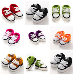 Wholesale Knitted Infant Shoes - Infant shoes Baby Knitted Footwear Toddler shoes Baby crochet sneakers 7 color first walk shoes infants toddlers handmade shoes 11cm D541 15