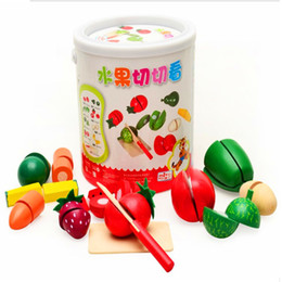 Wholesale Saw Toy - Wooden barrels simulation fruits and vegetables honestly see children's hands-on educational toys play house wooden toys gift