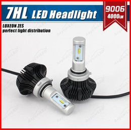 Wholesale Hid H4 Bulb - 1 Set 9006 HB4 50W 8000LM G7 LED Headlight Slim Auto Kit PHILI LUXEON ZES LUMILED Chip 7th Fanless 6500K Super White Replac HID Halogen Lamp
