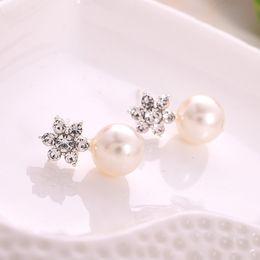 Wholesale Bling Earings - Fashion Women Elegant Crystal Rhinestone Pearl Ear Stud Earrings Jewelry for women Bling pierced ears accessories earings Christmas Styles