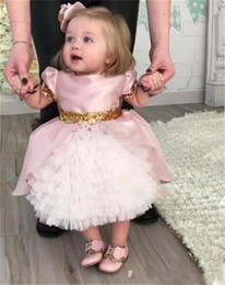 Wholesale Cute Gowns For Kids - Cute Pink Flower Girls Dresses for Toddler Baby First Communication Dresses With Gold Sequins Tiered Tea Length Party Ball Gown Kids